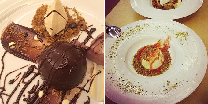 Καρυδόπιτα σε ανάποδη φωλιά σοκολάτας με αχλάδι και παγωτό σύκο / Πανακότα σοκολάτας με σάλτσα φρούτων εποχής