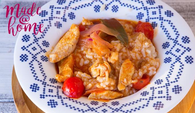 Κοκκινιστό κοτόπουλο με ριζότο