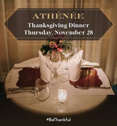 To Αthénée γιορτάζει και φέτος μαζί σας την Ημέρα των Ευχαριστιών με ένα ειδικό εορταστικό μενού την Πέμπτη 28 Νοεμβρίου