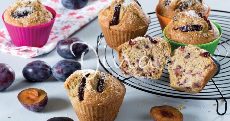 MUFFINS ΜΕ ΔΑΜΑΣΚΗΝΑ ΚΑΙ ΚΑΡΥΔΑ