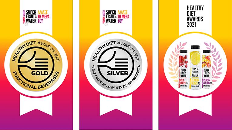 Χρυσό και Ασημένιο Βραβείο για το βιταμινούχο νερό SUPERFRUITS WATER στα Healthy Diet Awards 2021